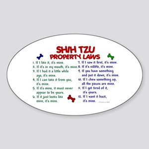 Shih Tzu Property Laws 2 Oval Sticker