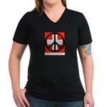 Peace flag Women's V-Neck Dark T-Shirt