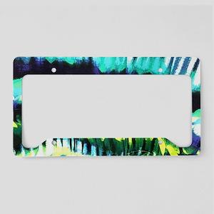 teal tropical leaf watercolor License Plate Holder