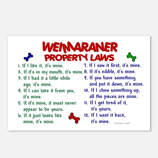 Weimaraner Property Laws 2 Postcards (Package of 8