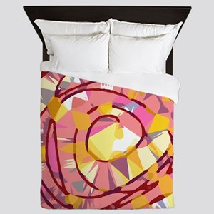 Pink Gold Abstract Floral Queen Duvet