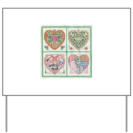 4-Hearts Cross-Stitch Yard Sign
