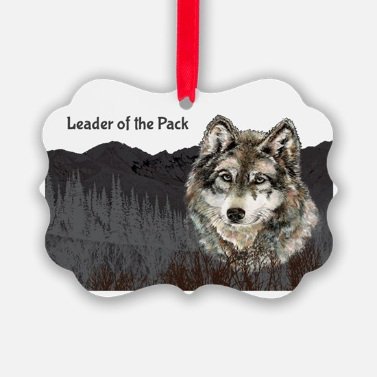 Leader of the Pack with Grey Wolf Ornament