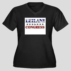 LEILANI for congress Women's Plus Size V-Neck Dark