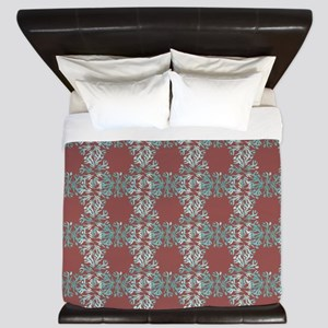 Abstract Blue Leaves & Marsala King Duvet