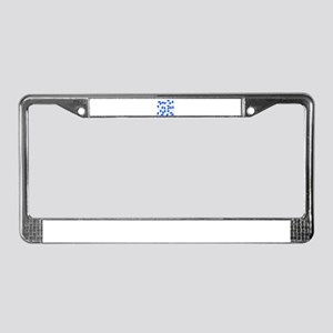 Blue And White Capsules License Plate Frame
