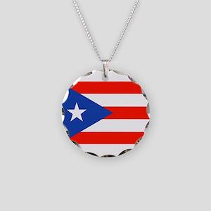 Boricua Puerto Rican Flag 4Q Necklace Circle Charm