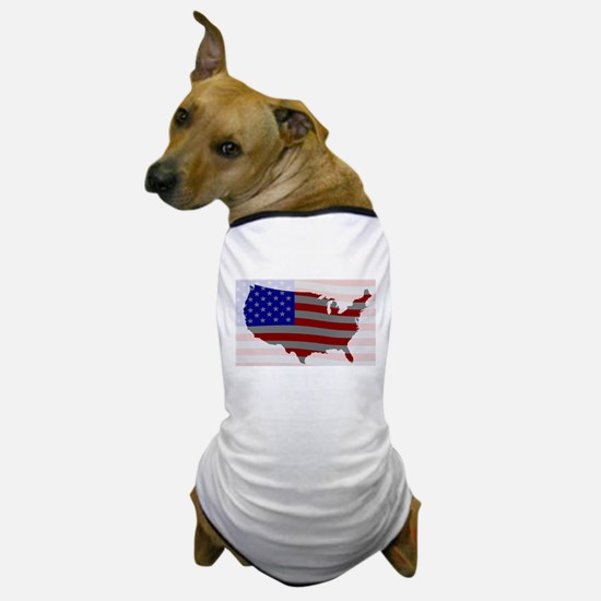 USA Map Silhouette And Flag Dog T-Shirt