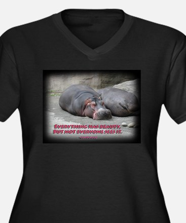 Hippos are beautiful! Women's Plus Size V-Neck Dar