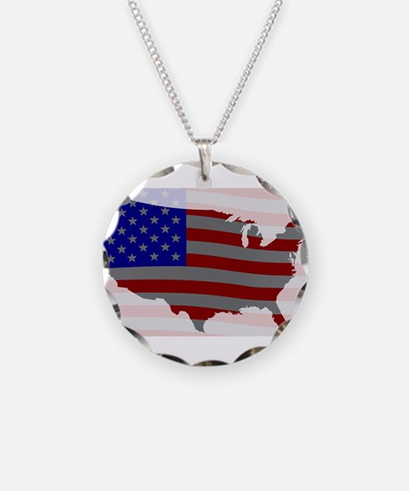 USA Map Silhouette And Flag Necklace
