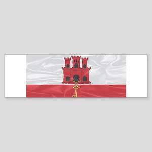 Silk Flag Of Gibraltar Bumper Sticker
