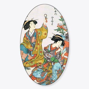 Classical Ancient Japanese Se Oval Sticker