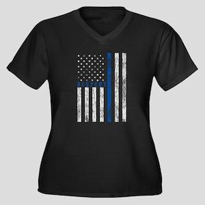 Respect Poli Women's Plus Size V-Neck Dark T-Shirt