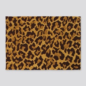 Brown Gold Leopard Print 5'x7'Area Rug