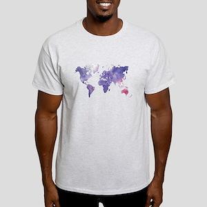 Purple Watercolor World Map T-Shirt