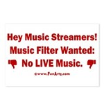 No Live Music Filter Postcards (Package of 8)