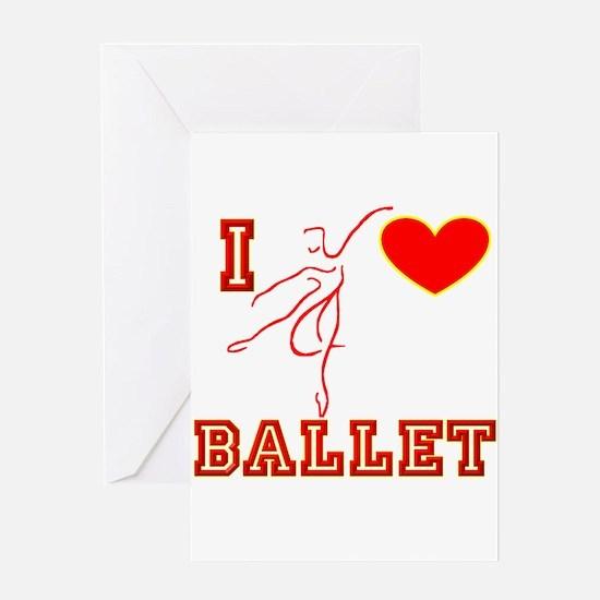I Heart Ballet Dancer Red Greeting Card