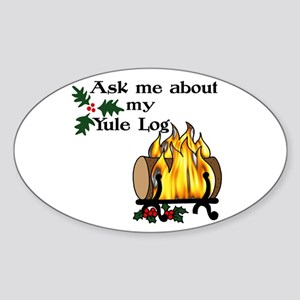 Yule Log Sticker (Oval)