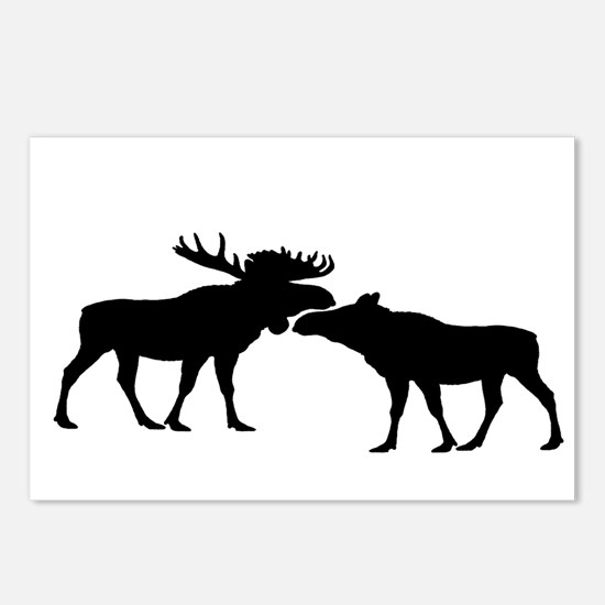 Moose couple Postcards (Package of 8)