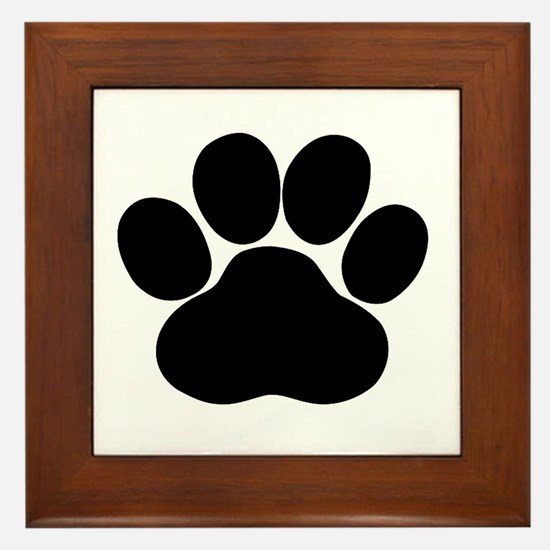 Black Dog Paw Framed Tile