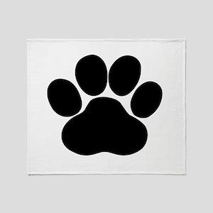 Black Dog Paw Throw Blanket