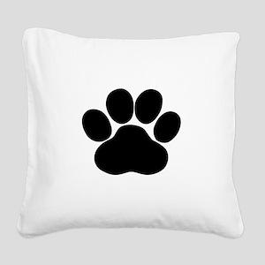 Black Dog Paw Square Canvas Pillow