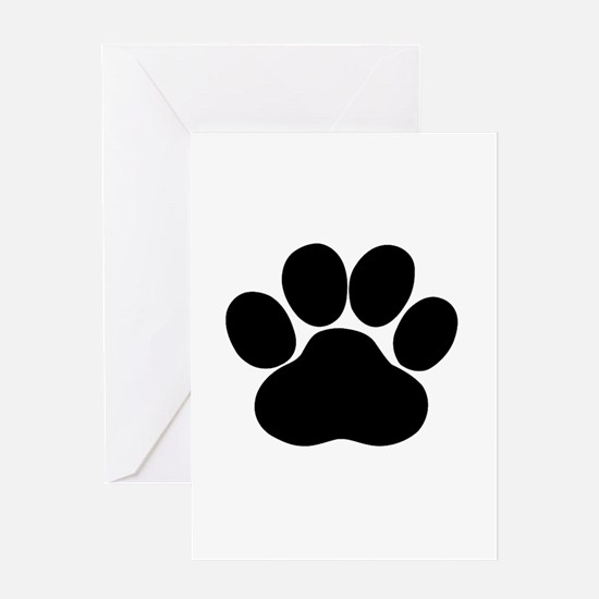 Black Dog Paw Greeting Cards