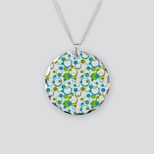 Teal and green circle Necklace Circle Charm