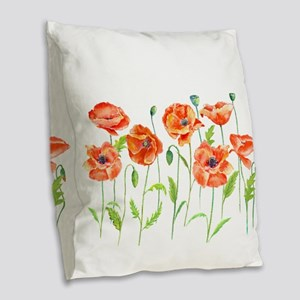 Watercolor red poppy illustrat Burlap Throw Pillow