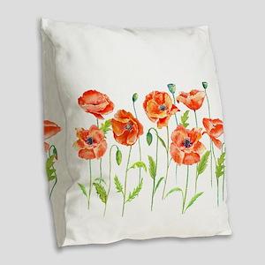 Watercolor red poppy illustrat Burlap Throw Pillow