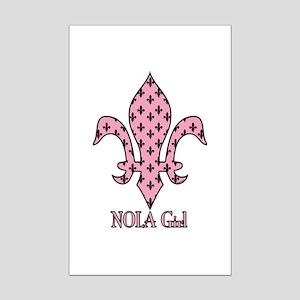 NOLA Girl Fleur de lis (pink) Mini Poster Print