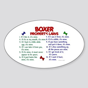 Boxer Property Laws 2 Oval Sticker