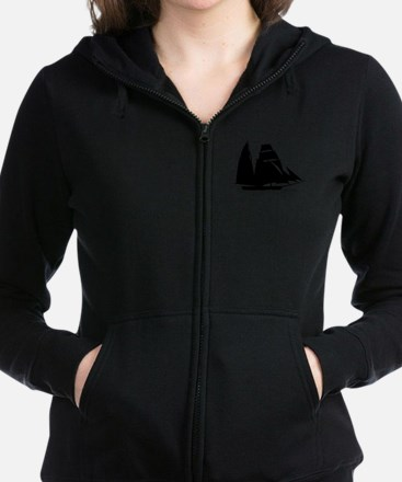 Black Sailboat Women's Zip Hoodie