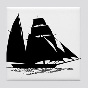Black Sailboat Tile Coaster