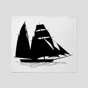 Black Sailboat Throw Blanket