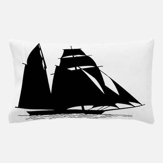 Black Sailboat Pillow Case