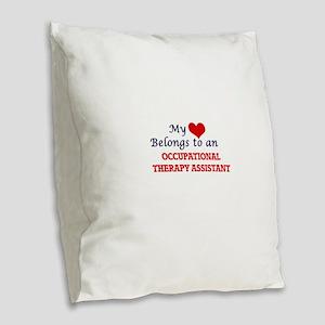 My Heart Belongs to an Occupat Burlap Throw Pillow