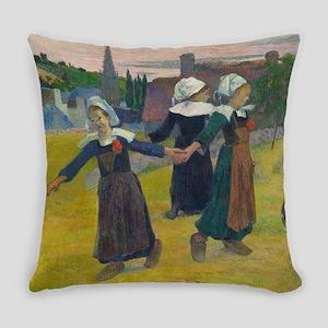 Breton Girls Dancing by Paul Gaugu Everyday Pillow