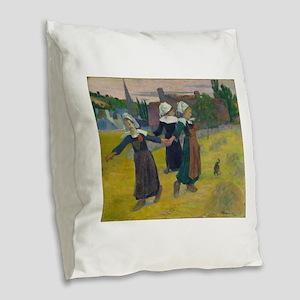 Breton Girls Dancing by Paul G Burlap Throw Pillow