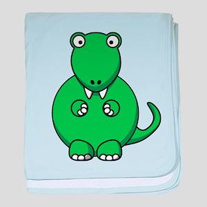 Green Cartoon T-Rex baby blanket