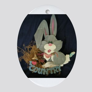 Country Bunny Oval Ornament