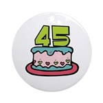 45th Birthday Cake Ornament (Round)