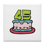 45th Birthday Cake Tile Coaster