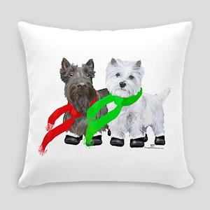 Scottie Westie Winter Everyday Pillow