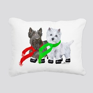 Scottie Westie Winter Rectangular Canvas Pillow