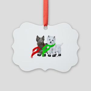 Scottie Westie Winter Picture Ornament