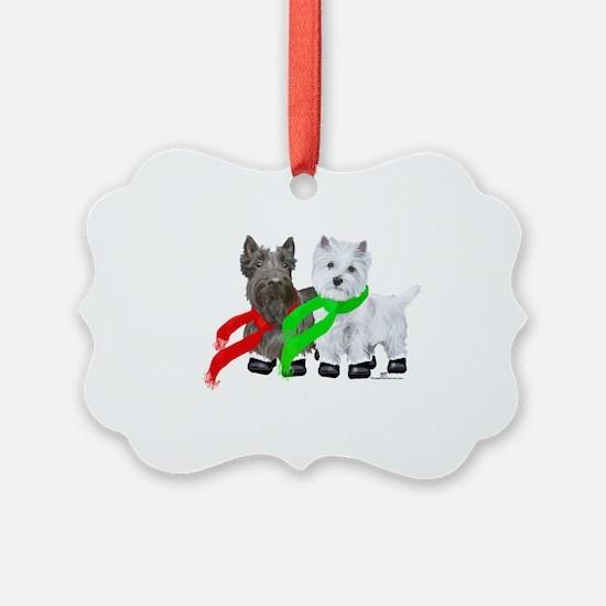 Scottie Westie Winter Ornament
