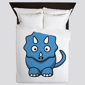 Blue Cartoon Triceratops Queen Duvet