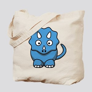 Blue Cartoon Triceratops Tote Bag