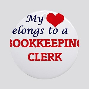 My heart belongs to a Bookkeeping C Round Ornament